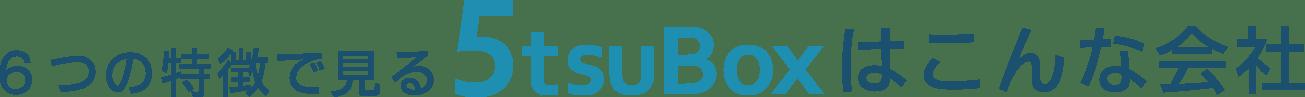 6つの特徴で見る5tsuBoxはこんな会社